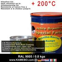 BRANTHO-KORRUX 2-KOMPO Rostschutzlack RAL 9005 Schwarz 0,8 kg