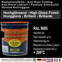 BRANTH's S-GLASUR Metall Schutzlack Hochglänzend RAL 9005 Tiefschwarz / Schwarz 750 ml
