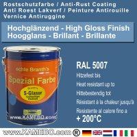 BRANTH's S-GLASUR Metall Schutzlack Hochglänzend RAL 5007 Brillantblau / Blau 5 Liter