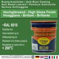BRANTH's S-GLASUR Metall Schutzlack Hochglänzend RAL 6010 / 0610 Naturgrün  / Grün 750 ml