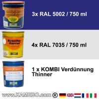 BRANTHO-KORRUX NITROFEST RAL 7035 S-GLASUR RAL 5002 Kit 1