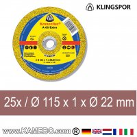 KLINGSPOR Trennscheibe A 60 Extra Ø 115 x 1 x Ø 22 mm 25 Stück