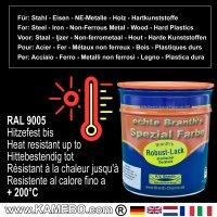 BRANTH's ROBUST LACK Metallschutzlack RAL 9005 Tiefschwarz / Schwarz 750 ml