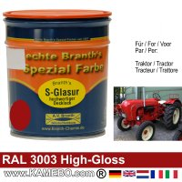 Traktorlack Hochglänzend RAL 3003 Rubinrot / Rot 750 ml