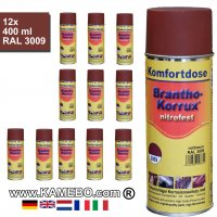 BRANTHO-KORRUX NITROFEST Korrosionsschutzlack RAL 3009 Rotbraun Spray 12 Stück