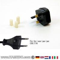 Reiseadapter für Euro Flachstecker auf BS 1363