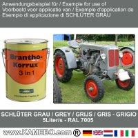 BRANTHO-KORRUX 3in1 Rostschutzfarbe Schlüter Traktor Grau 5 Liter