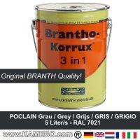 BRANTHO-KORRUX 3in1 Rostschutzfarbe Poclain Grau 5 Liter