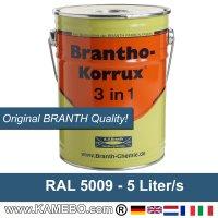 BRANTHO-KORRUX 3in1 Korrosionsschutzlack RAL 5009 Azurblau 5 Liter