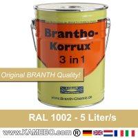 BRANTHO-KORRUX 3in1 Rostschutzfarbe RAL 1002 Sandgelb 5 Liter