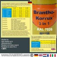 BRANTHO-KORRUX 3 in 1 Peinture Protection Métal RAL 7026 Gris granite 5 Litres