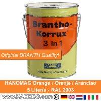 BRANTHO-KORRUX 3 in 1 Rostschutzfarbe Hanomag Baumaschinen und Traktor Orange 5 Liter