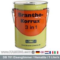 BRANTHO-KORRUX 3in1 Rostschutzlack DB 701 Silbergrau Eisenglimmerlack 5 Liter