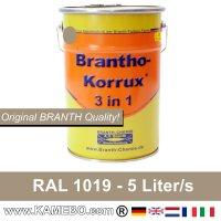 BRANTHO-KORRUX 3 in 1 Metallschutzlack / Korrosionsschutzlack RAL 1019 Graubeige 5 Liter
