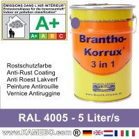 BRANTHO-KORRUX 3 in 1 Metallschutzlack / Korrosionsschutzlack RAL 4005 Blaulila 5 Liter