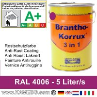 BRANTHO-KORRUX 3in1 Rostschutzfarbe RAL 4006 Verkehrspurpur 5 Liter