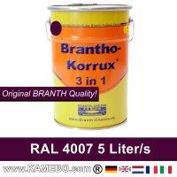 BRANTHO-KORRUX 3 in 1 Metallschutzlack / Korrosionsschutzlack RAL 4007 Purpurviolett 5 Liter