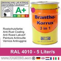 BRANTHO-KORRUX 3 in 1 Metallschutzlack / Korrosionsschutzlack RAL 4010 Telemagenta 5 Liter