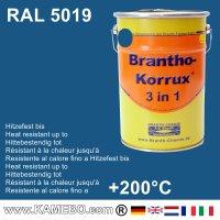 BRANTHO-KORRUX 3 in 1 Metallschutzlack / Korrosionsschutzlack RAL 5019 Capriblau 5 Liter