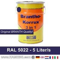 BRANTHO-KORRUX 3 in 1 Metallschutzlack / Korrosionsschutzlack RAL 5022 Nachtblau 5 Liter
