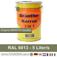 BRANTHO-KORRUX 3 in 1 Metallschutzlack / Korrosionsschutzlack RAL 6013 Schilfgrün 5 Liter
