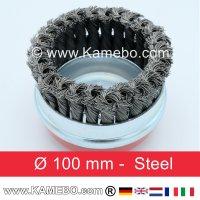 Topfbürste Stahldraht gezopft gerade Form Ø 100 mm
