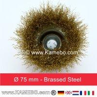 Topfbürste Stahldraht vermessingt und gewellt Ø 75 mm 5 Stück