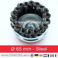 Topfbürste Stahldraht gerade Form gezopft Ø 65 mm