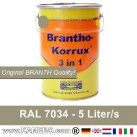 BRANTHO-KORRUX 3in1 Rostschutzfarbe RAL 7034 Gelbgrau 5 Liter