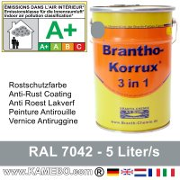 BRANTHO-KORRUX 3in1 Rostschutzfarbe RAL 7042 Verkehrsgrau A 5 Liter