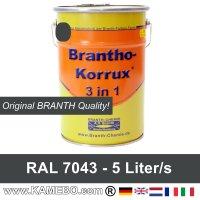 BRANTHO-KORRUX 3 in 1 Metallschutzlack / Korrosionsschutzlack RAL 7043 Verkehrsgrau B 5 Liter