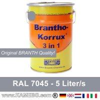 BRANTHO-KORRUX 3 in 1 Metallschutzlack / Korrosionsschutzlack RAL 7045 Telegrau 1 5 Liter
