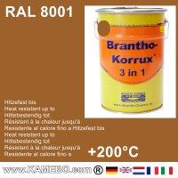 BRANTHO-KORRUX 3in1 Rostschutzfarbe RAL 8001 Ockerbraun 5 Liter