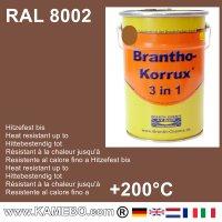 BRANTHO-KORRUX 3 in 1 Metallschutzlack / Korrosionsschutzlack RAL 8002 Signalbraun 5 Liter