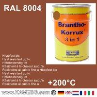 BRANTHO-KORRUX 3 in 1 Metallschutzlack / Korrosionsschutzlack RAL 8004 Kupferbraun 5 Liter