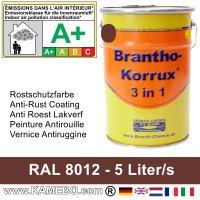 BRANTHO-KORRUX 3in1 Rostschutzfarbe RAL 8012 Rotbraun 5 Liter