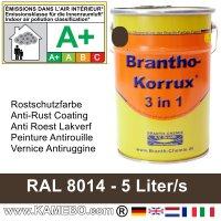 BRANTHO-KORRUX 3 in 1 Metallschutzlack / Korrosionsschutzlack RAL 8014 Sepiabraun 5 Liter