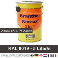 BRANTHO-KORRUX 3in1 Rostschutzfarbe RAL 8019 Graubraun 5 Liter