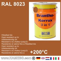 BRANTHO-KORRUX 3 in 1 Metallschutzlack / Korrosionsschutzlack RAL 8023 Orangebraun 5 Liter