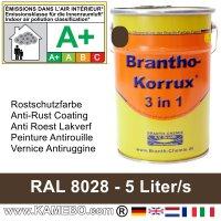 BRANTHO-KORRUX 3 in 1 Metallschutzlack / Korrosionsschutzlack RAL 8028 Terrabraun 5 Liter