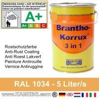 BRANTHO-KORRUX 3in1 Rostschutzfarbe RAL 1034 Pastellgelb 5 Liter