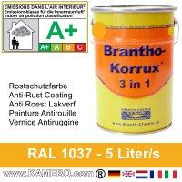 BRANTHO-KORRUX 3 in 1 Metallschutzlack / Korrosionsschutzlack RAL 1037 Sonnengelb 5 Liter
