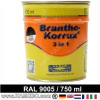 BRANTHO-KORRUX 3in1 Vernice Antiruggine RAL 9005 Nero intenso 750 ml