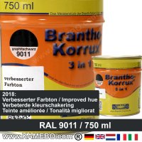 BRANTHO-KORRUX 3in1 Rostschutzlack RAL 9011 Graphitschwarz 750 ml