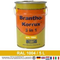 BRANTHO-KORRUX 3in1 Rostschutzlack RAL 1004 Goldgelb 5 Liter