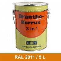 BRANTHO-KORRUX 3in1 Rostschutzlack RAL 2011 Tieforange 5 Liter