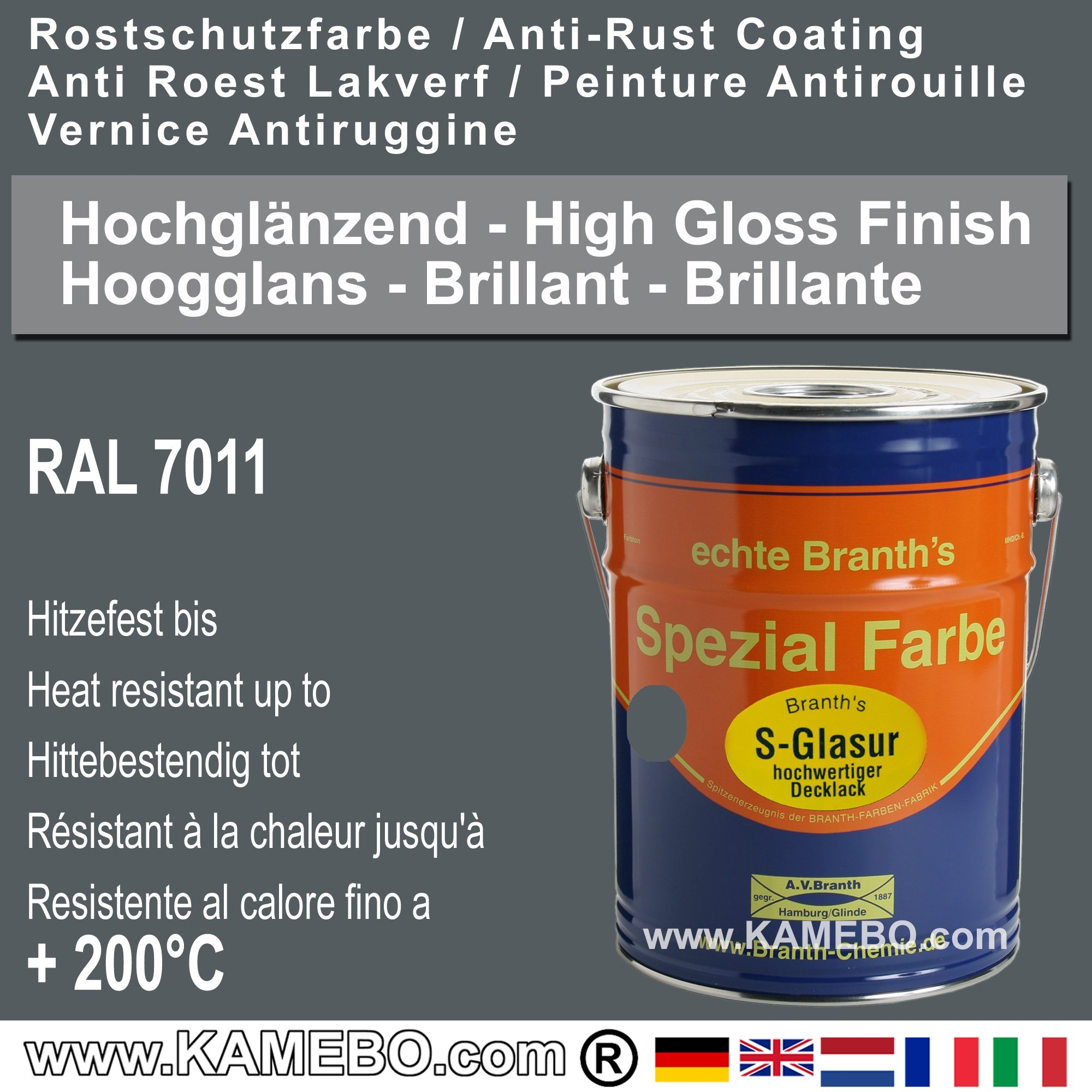 Branths S Glasur High Gloss Finish Paint For Metal Ral 7011 Iron