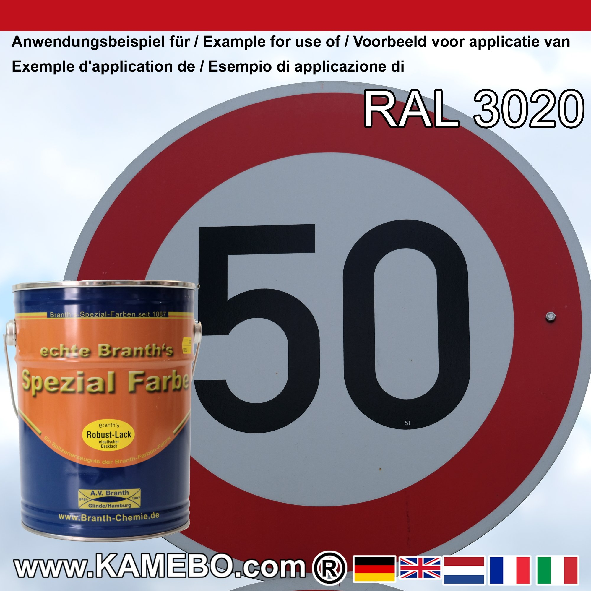 branth's robust lack metallschutzlack ral 3020 verkehrsrot 5 liter