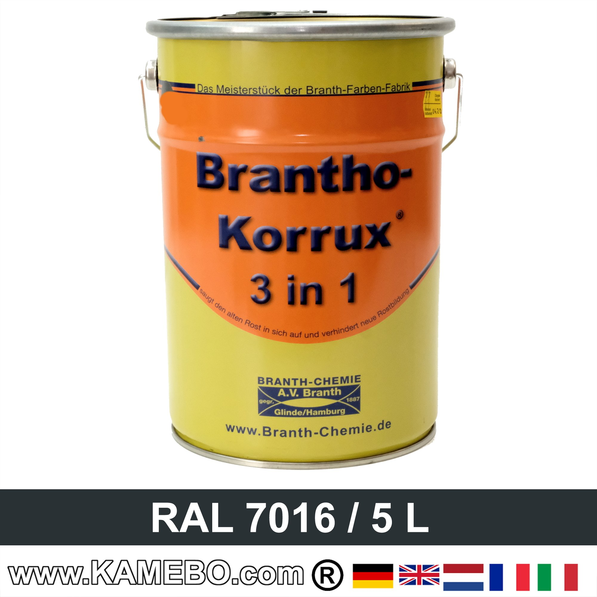 brantho korrux 3in1 peinture antirouille ral 7016 gris anthracite 5 litres kamebo. Black Bedroom Furniture Sets. Home Design Ideas