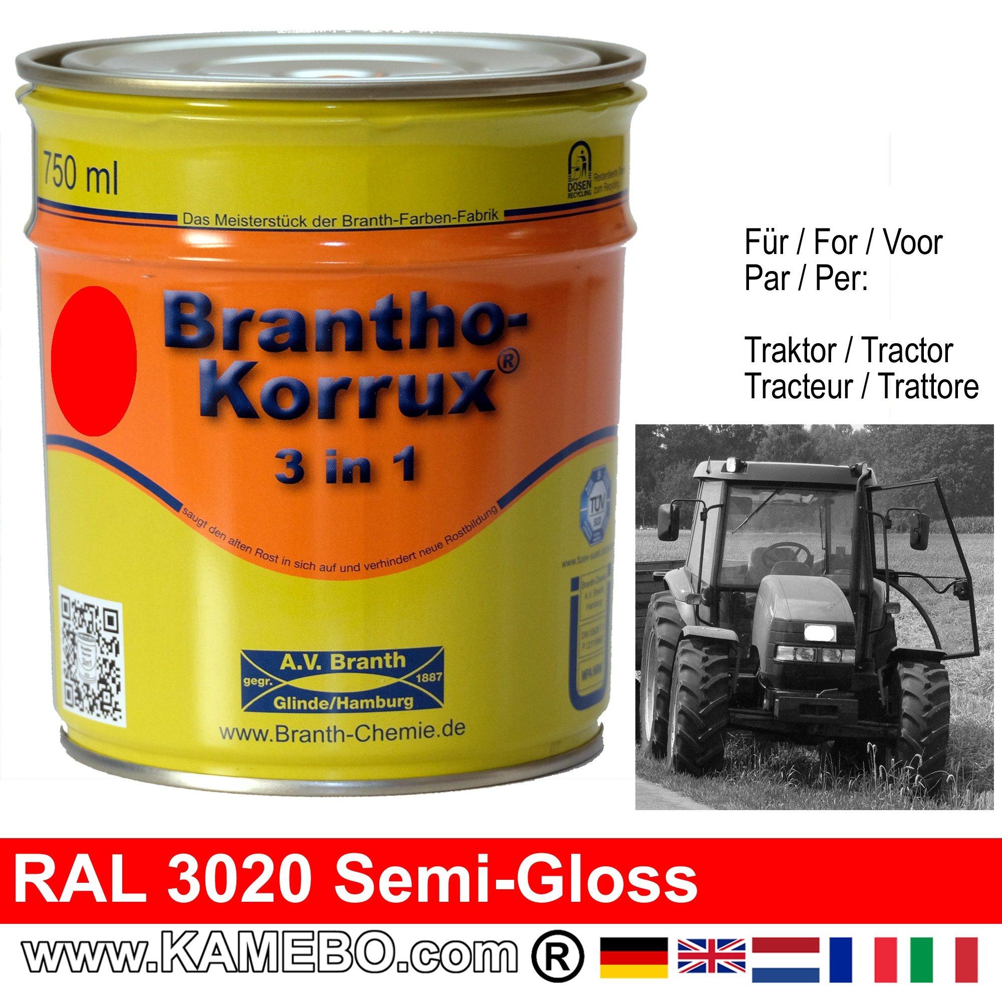 3in1 peinture tracteur satin e brillante ral 3020 rouge for Peinture satinee ou brillante